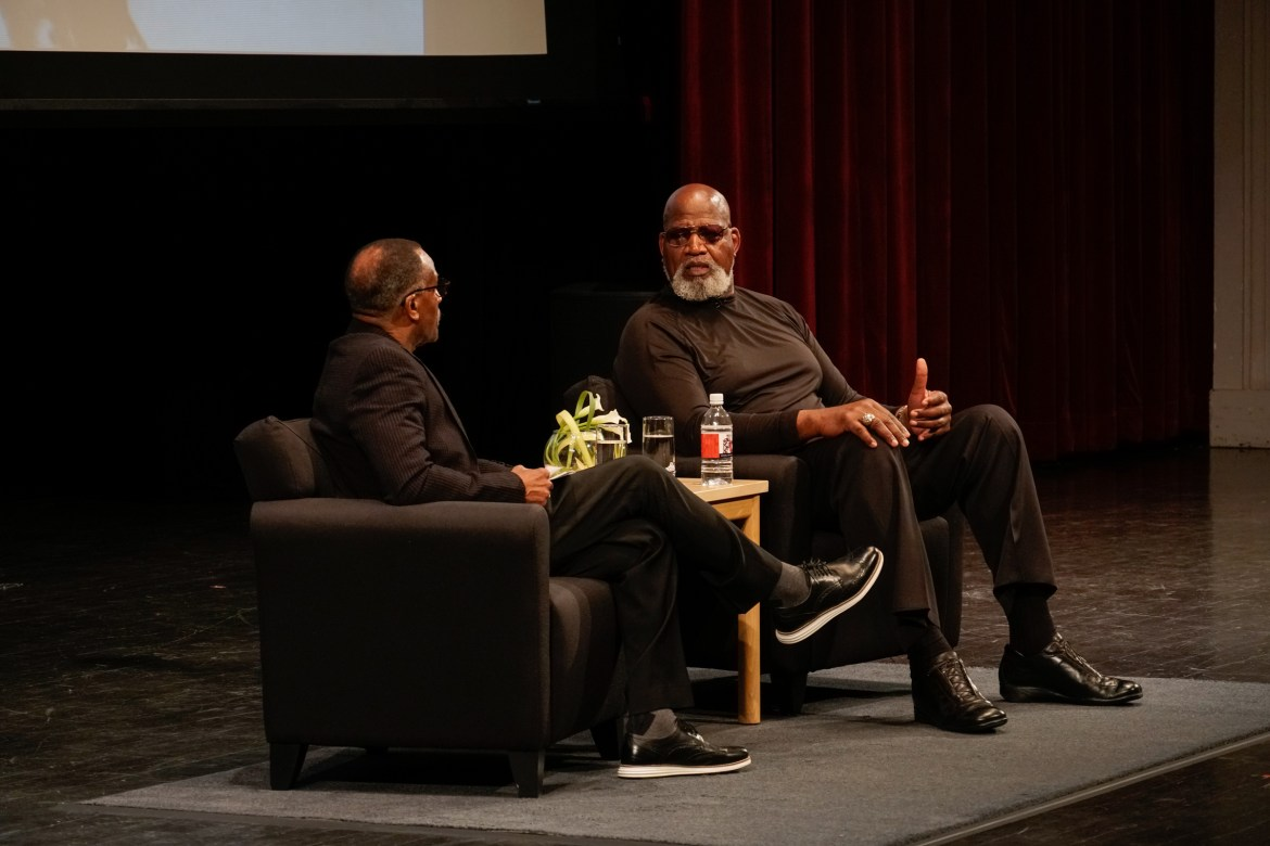 Frank Dawson '72 (left) and Dr. Harry Edwards Ph.D. '73 (right) discuss the civil rights movement and Willard Straight Hall takeover in a keynote event on April 18, 2019.