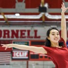 Karen Chen '23 stops by Lynah Rink as an incoming freshman during Cornell Days.
