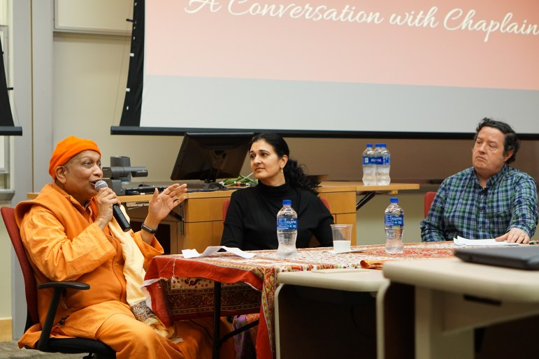"""Cornell University Hindu Student Council hosted """"Practicing Hinduism at Cornell: A Conversation with Chaplains"""" on Thursday. The event featured Brown University Chaplain Swami Yogatmananda, Yale University Chaplain Dr. Asha Shipman and Prof. Larry McCrea, South Asian Studies. (Michelle Yang / Sun Staff Photographer)"""