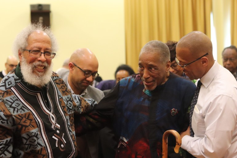 John Bracey and James Turner after the keynote speech on Saturday.