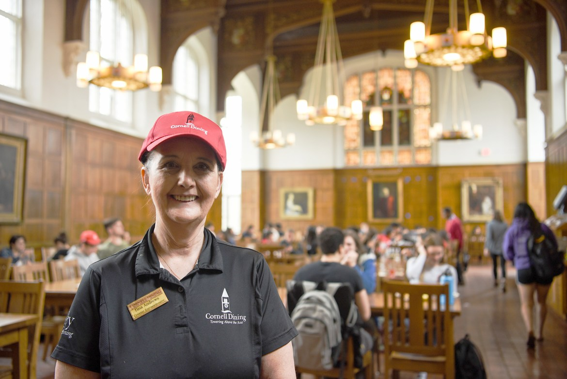 Tina Andrews has greeted students with a smile as she swipes them into Risley Dining Hall every day for the past three years.