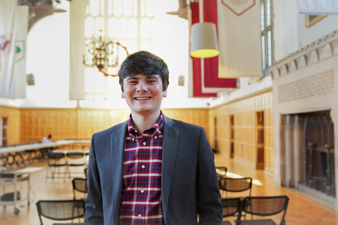 Joseph Anderson '20, Student Assembly President-Elect, stands in the Willard Straight Hall Memorial Room, the Assembly's usual meeting place .