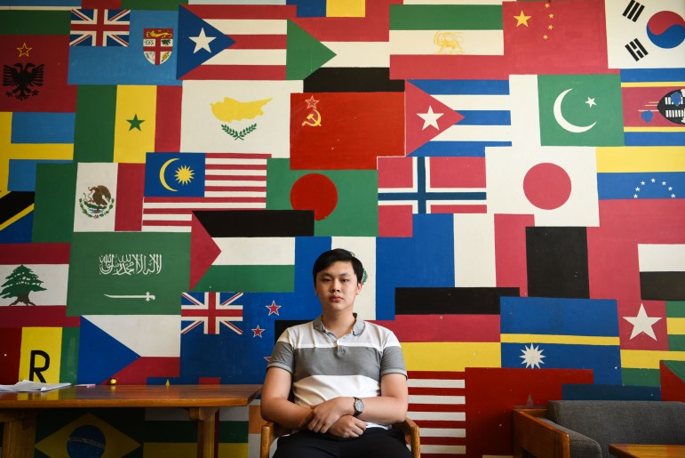 Lin Khant Oo '21, of Yangon, Myanmar, in the common lounge of Holland International Living Center on North Campus.