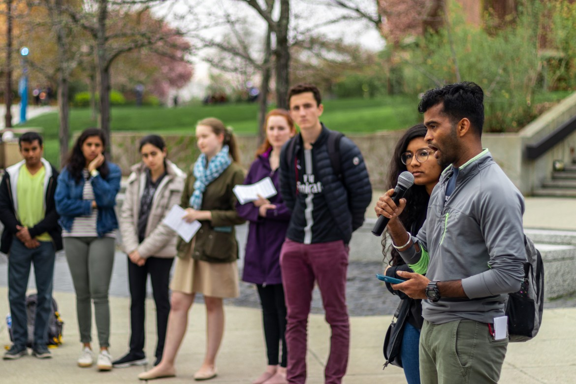 Students held a vigil to honor the victims of the attacks in Sri Lanka on Easter Sunday.
