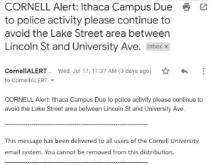 Alerts were sent out every half hour to everyone on the Cornell email system.