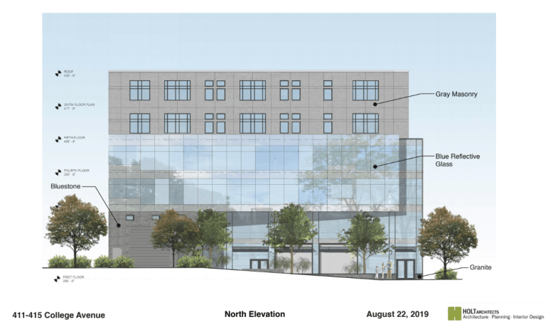 A plan for the Cornell-facing view of the new building. Large glass panes would reflect towards campus.