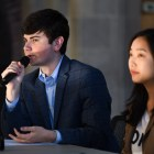 Joseph Anderson '20, Student Assembly President, and Heather Huh '20, co-chair of SAFC, speak at the S.A. meeting on September 5th, 2019.