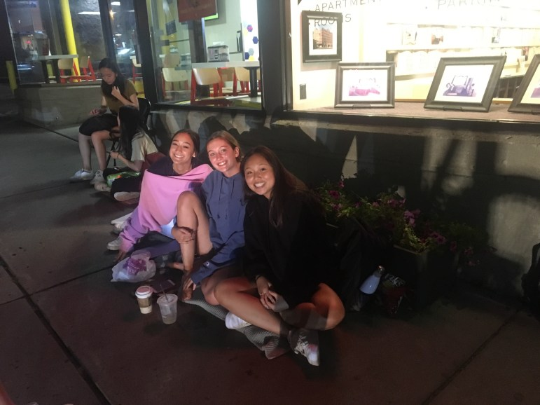Amy Chen '22, Sophie Matton '22 and Bella Romano '22 camped outside the Ithaca Renting office in hopes of securing a lucrative lease for the 2020-2021 school year.