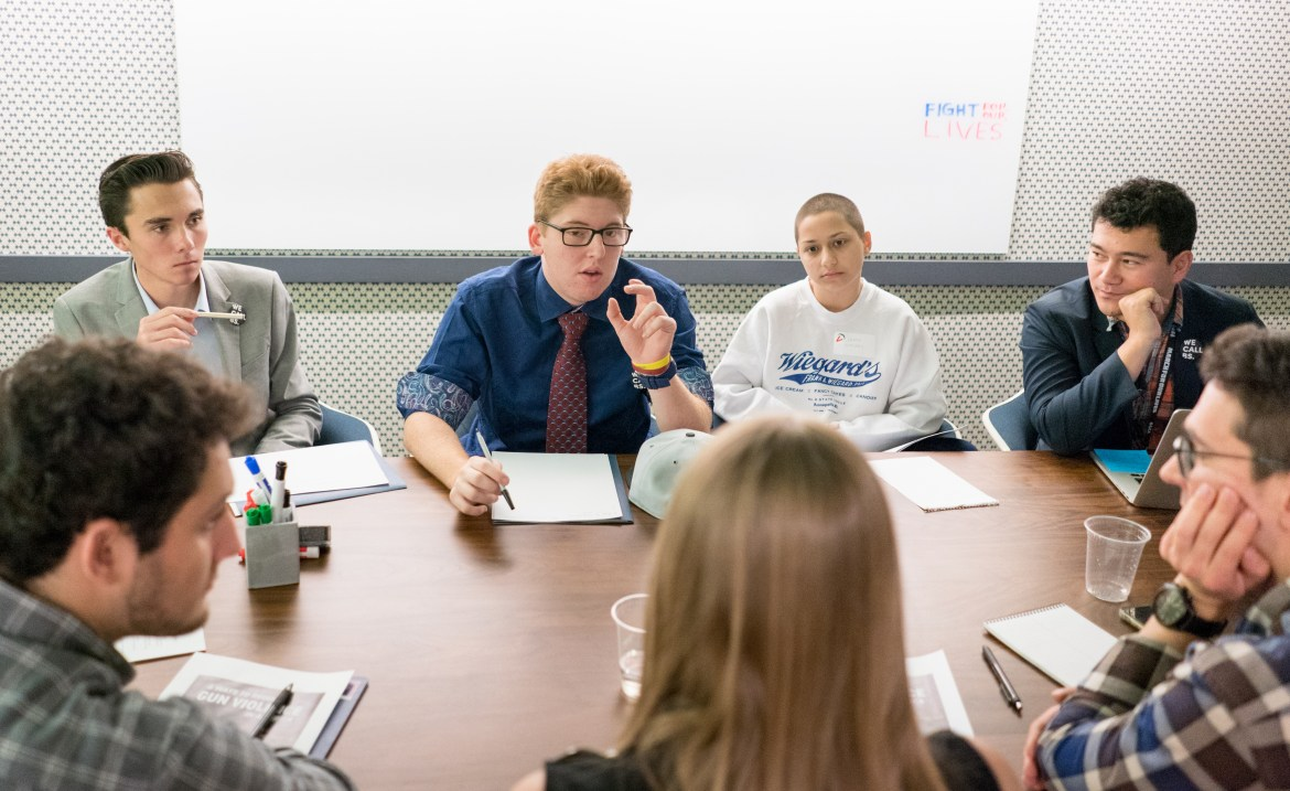Student leaders from Parkland met in February to discuss plans for the March for Our Lives demonstration, in Washington, D.C.