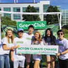 Members of GreenClub, from left to right: Nicole Saboya, Kevin Li, Alex Li, Stephanie Tan, Anyi Qian, and William Bai. Not pictured are Deniz Tekant and Manson Zheng.