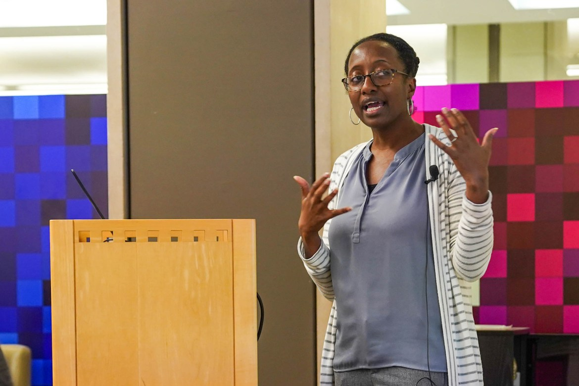 Prof. Jamila Michener, government discusses how politics interferes with healthcare policy at a talk on Tuesday.