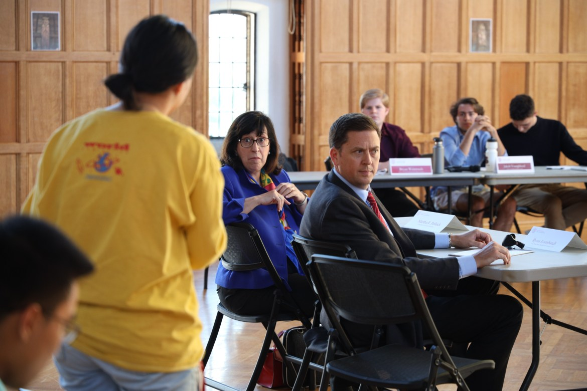 Martha Pollack fields questions at Thursday's meeting of the Student Assembly.