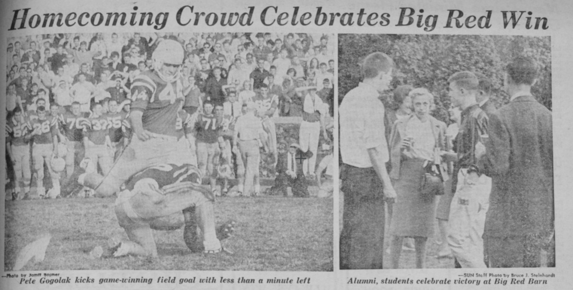 In 1963, Big Red prevailed over Yale, 13-10, with a last-minute field goal by Pete Gogolak '64.