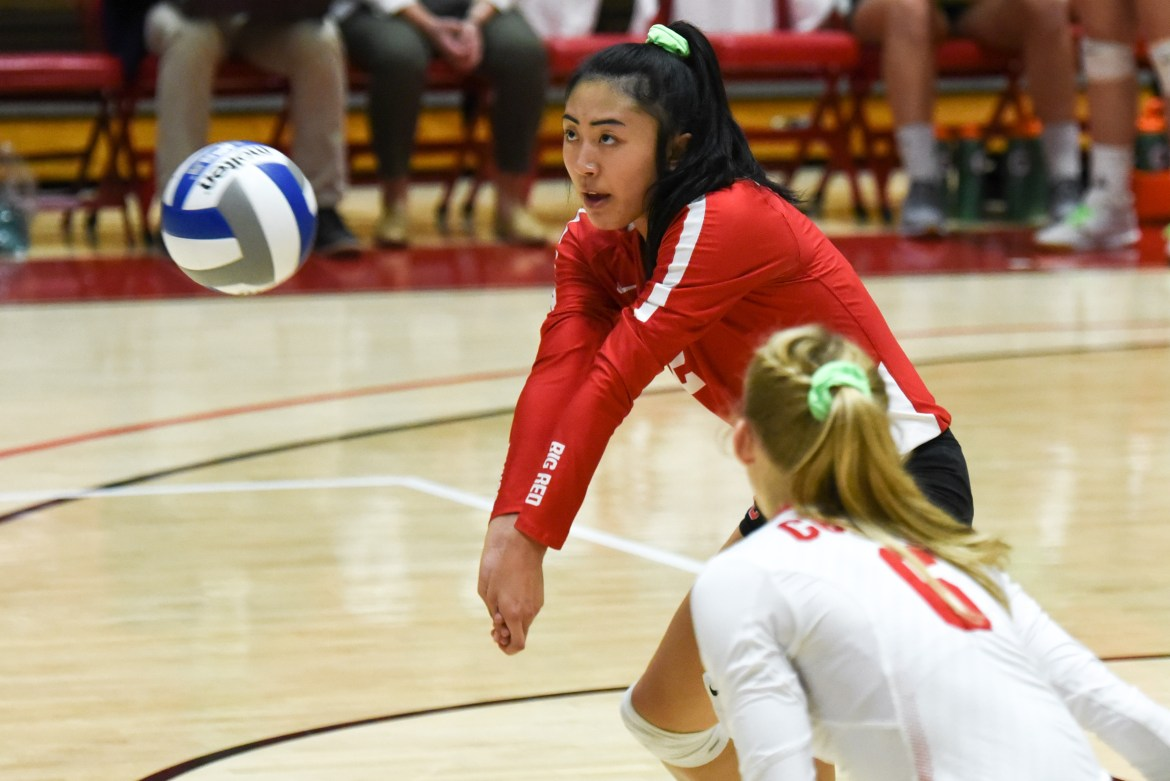 Freshman Joanna Chang starred for the Red, tallying a double-double while helping the team sweep the Lions.
