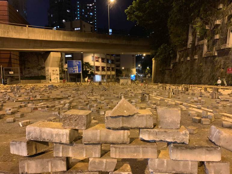 Protestor-made roadblocks obstruct roads on the University of Hong Kong campus.