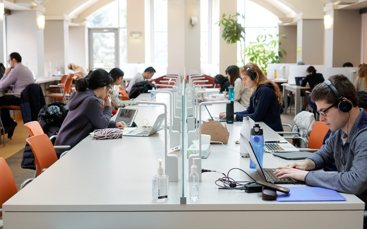 Students study in Sage Library.