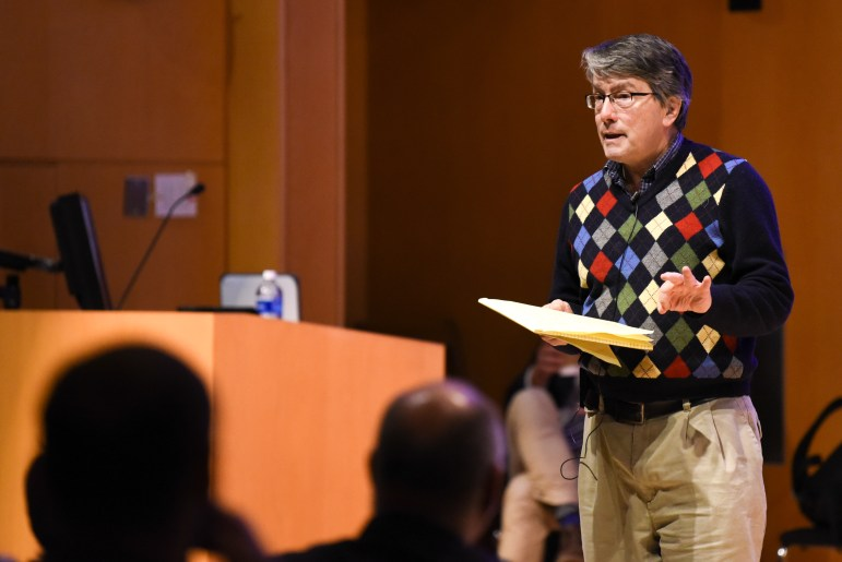 Prof. Timothy DeVoogd, psychology, argues in favor of preserving neuroscience at the Apocalypse Debate at Klarman Hall on November 5th, 2019. (Boris Tsang/Sun Photography Editor)