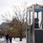 "Students engage in the ""Cornell According to Sound"" listening booth on the Arts Quad on November 14th, 2019."