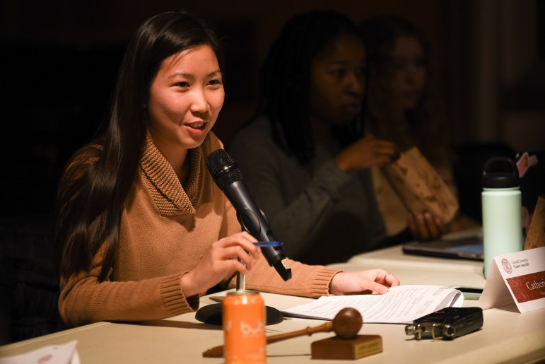 Executive vice president Catherine Huang speaks during the Student Assembly meeting at Willard Straight Hall.
