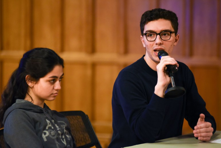 College of Arts & Sciences representative Julian Kroll speaks at the Student Assembly meeting at Willard Straight Hall on November 14th, 2019.