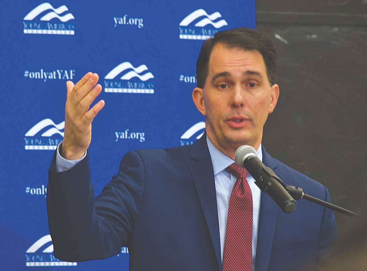 Governor Scott Walker spoke on Nov. 4 in Warren Hall, after which followed what was, at times, a heated Q&A session.