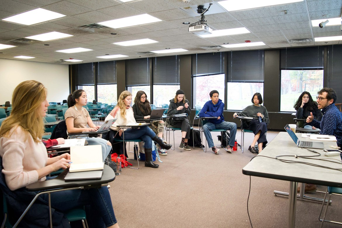 Prof. Stephen Vider, history, engages with students in his HIST 2792: Introduction to Public History class.