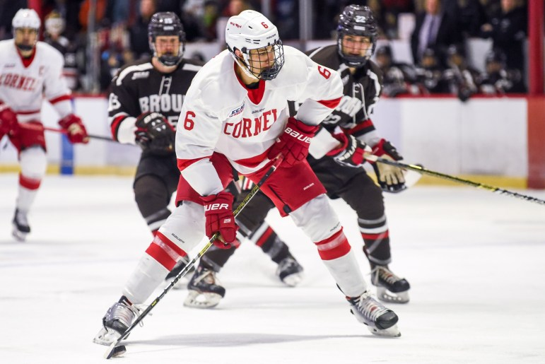Cornell scored two goals in the second period to pull away from Brown.