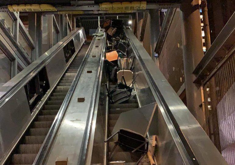 The obstructed escalators at University of Hong Kong.
