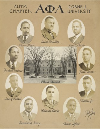 Members of the Alpha Phi Alpha fraternity at Cornell in the 1940s. Alpha Phi Alpha was the country's first black fraternity.