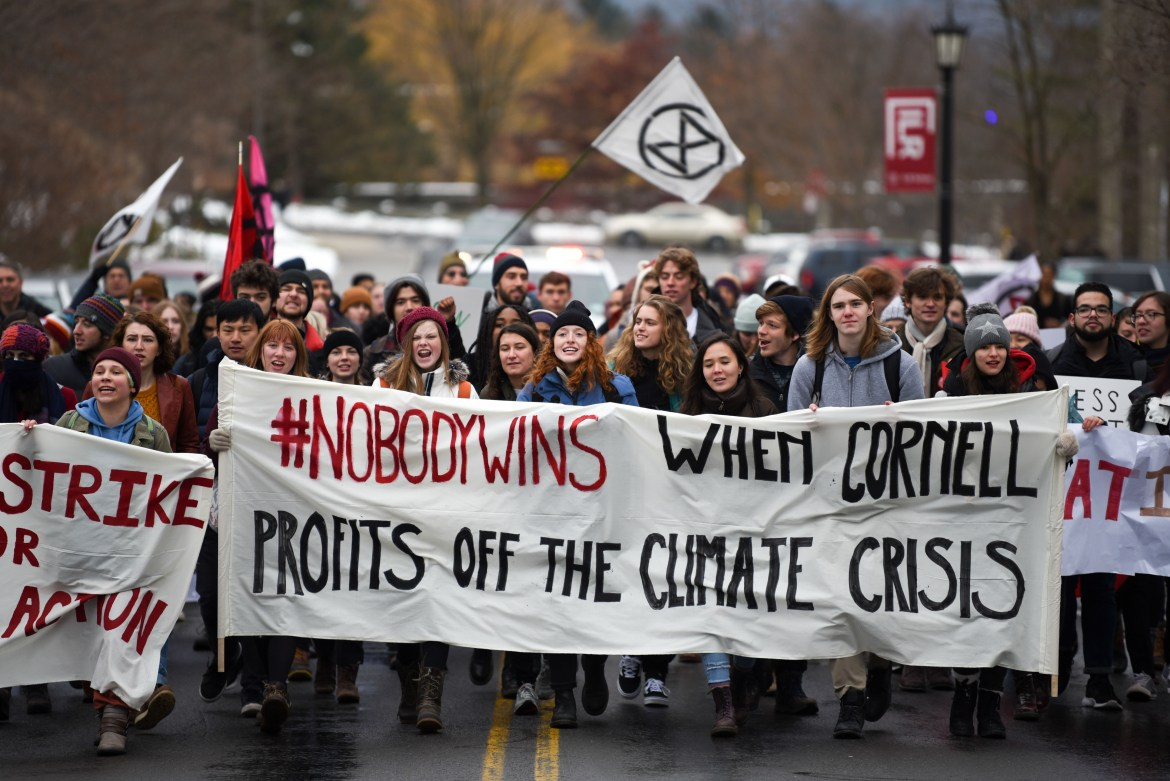 Protesters march northward on Garden Avenue during the climate strike on December 6th, 2019.