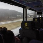 A Coach USA Ithaca Platinum bus heads west on N.Y. Route 17 en route from New York City to Ithaca on December 1st, 2019. All Ithaca Platinum buses were rescheduled to leave between 9 a.m. and 10 a.m. in anticipation of inclement weather in the Northeast.