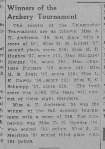 During her time at Cornell, Lawrence was involved in archery, repeatedly scoring among the top.