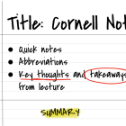 This is an example of the Cornell Notes system.