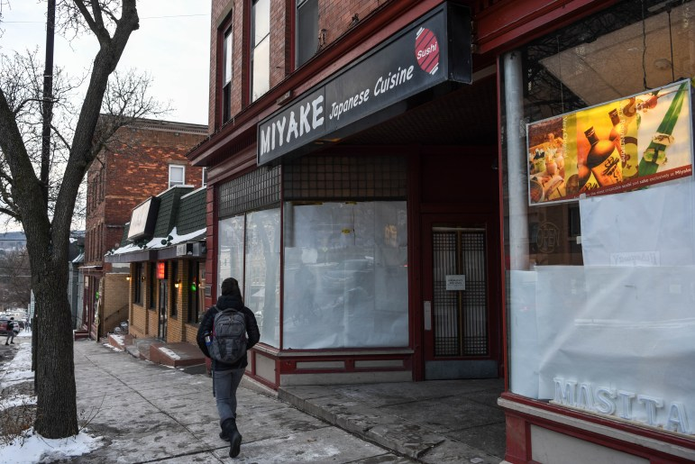 With windows coved in paper, Miyake on January 21st, 2020. A new pan-asian restaurant is planned in the space.