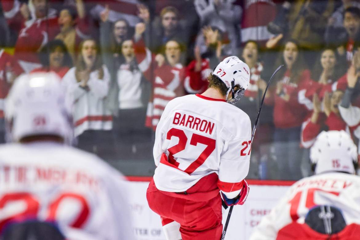 Junior captain Morgan Barron scored both of the Red's goals and is now up to nine on the season.