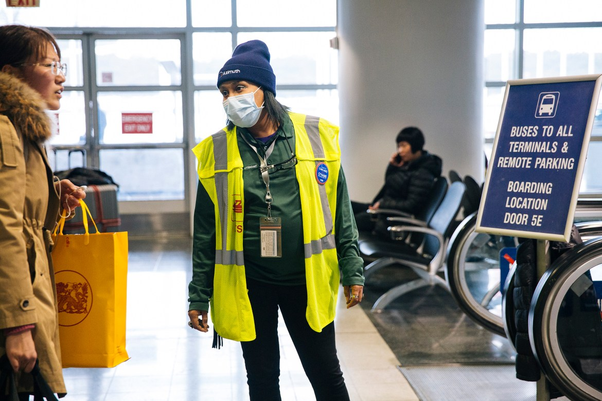 An airport employee in an international terminal in Chicago's O'Hare International Airport.