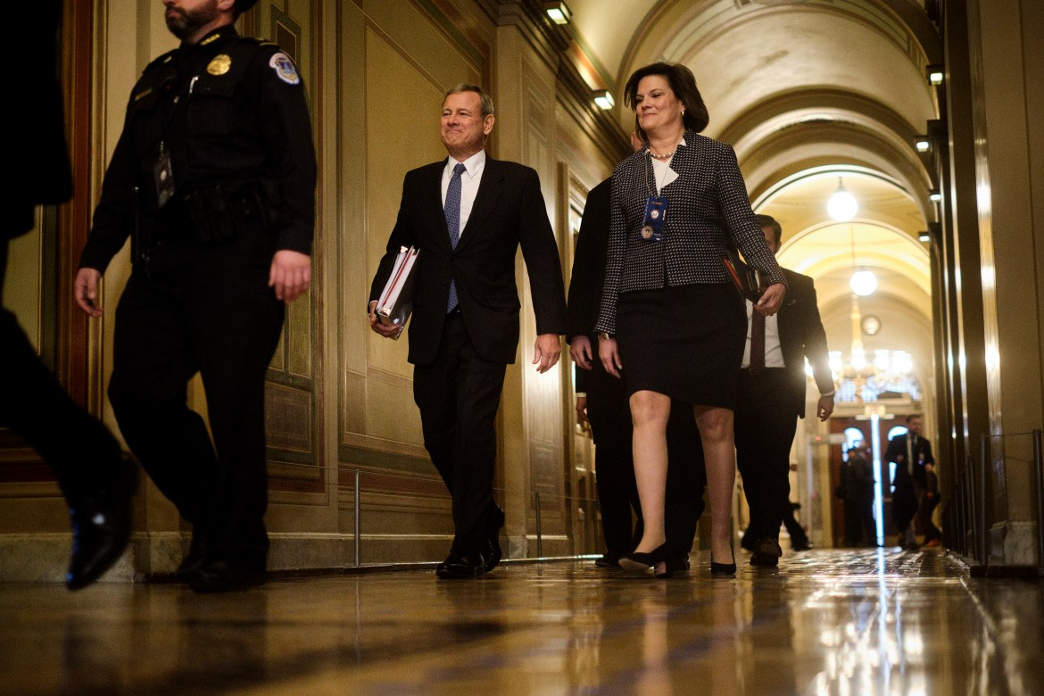 Chief Justice John G. Roberts, enters the Capitol to preside over the opening of the Senate's impeachment trial of. President Donald Trump in Washington on Tuesday, Jan. 21, 2020.