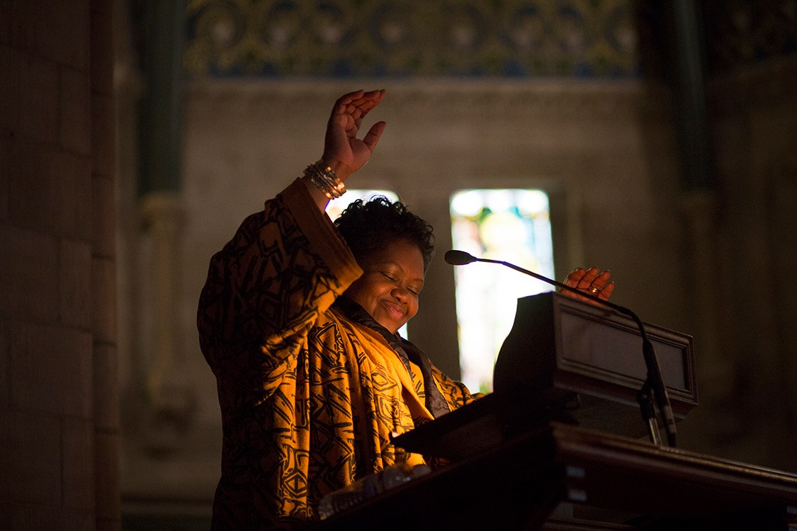 Leslyn McBean-Clairborne talks during a February 2017 Sage Chapel speaker series. McBean-Clairborne will serve as the Chair of the Tompkins County Legislature.