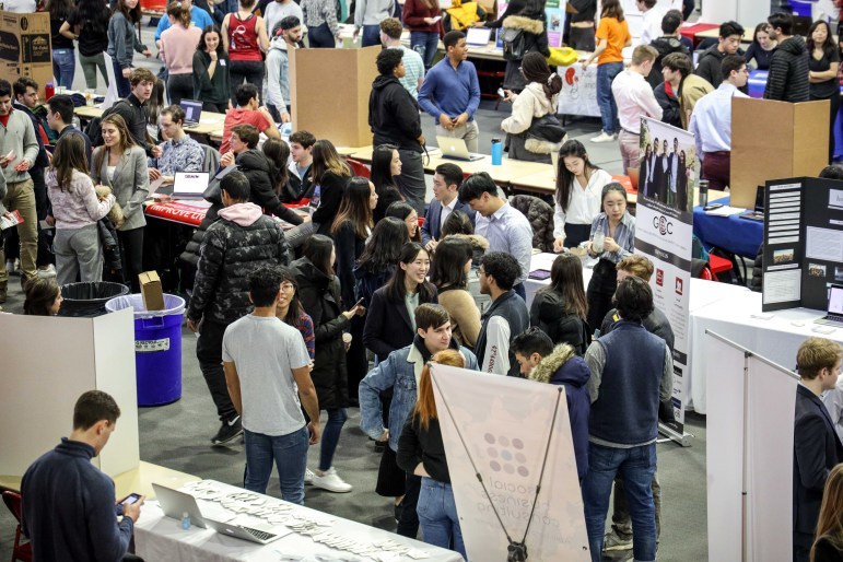 Students meet club members and learn about different organizations at ClubFest in Barton Hall this Sunday. (Michael Wenye Li/Sun Senior Photographer)