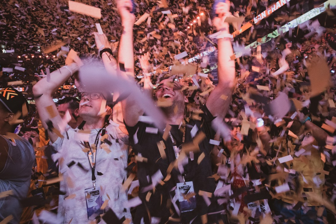 Fans celebrate the victory of the San Francisco Shock in the 2018 Overwatch League Grand Finals.
