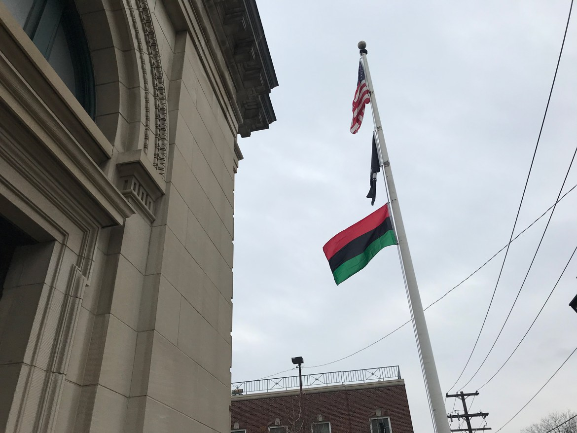 The Pan-African flag is being flown at Ithaca Town Hall. The flag is also being flown at City Hall for the duration of Black History Month.