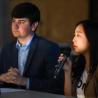 Heather Hu '20, co-chair of SAFC, and Joseph Anderson '20, Student Assembly president, speak at an S.A. meeting on Sept. 5, 2019. Huh is one of two chairs of the funding commission.