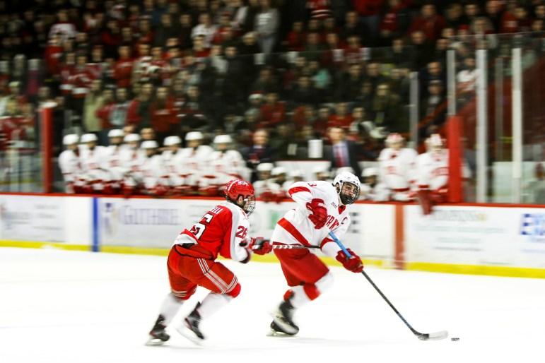 Men's hockey faced off against RPI on Saturday, securing a 4-2 win. (Michael Wenye Li/Sun Senior Photographer)