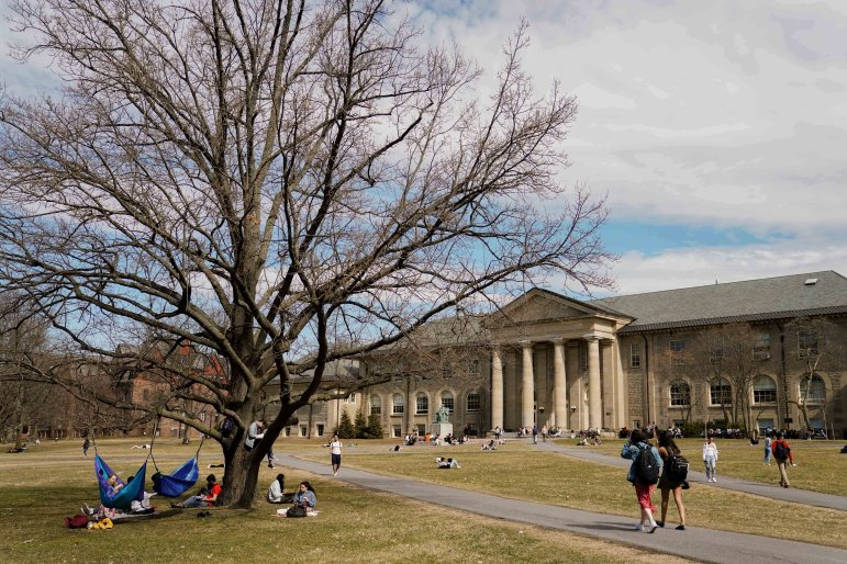 On Monday, temperatures reached nearly 60 degrees, and students relaxed in hammocks and studied on the Arts Quad. (Ben Parker/Sun Assistant Photography Editor)