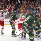 Ben Berard completed his first collegiate hat trick with fewer than 10 seconds left in the game.