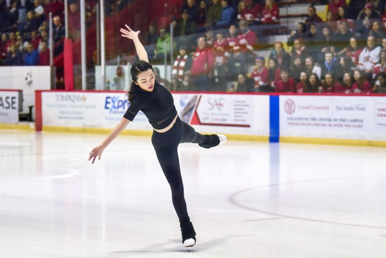 Karen Chen '23 performs at Lynah Rink after the first period of the men's hockey game against St. Lawrence on Saturday. (Boris Tsang/Sun Photography Editor)