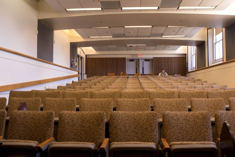 Lecture halls remain nearly empty as President Martha E. Pollack canceled all classes until April 6.