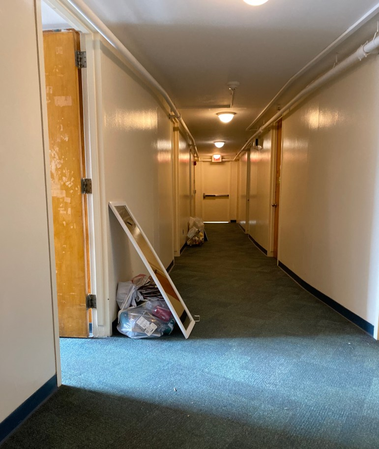 Donlon Hall residents empty their dorm rooms as they prepare to move out on Saturday afternoon.