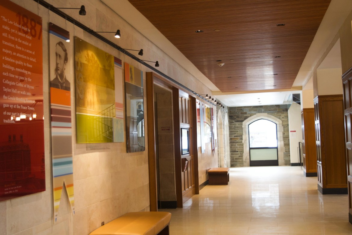 Cornell Law School hallways remain empty, as law students have already started online classes under a mandatory pass/fail grading system.