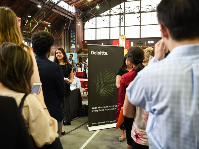 Students line up to speak to recruiters at a career fair at Barton Hall on Sept. 6, 2018. Amid coronavirus fallout, scores of internship programs have been cancelled, though the pains have not been equally felt across industries.